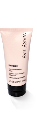 The TimeWise Age Minimize 3D 4-in-1 Cleanser from Mary Kay is photographed beside a swipe of the product on a white hexagon against a grey background.