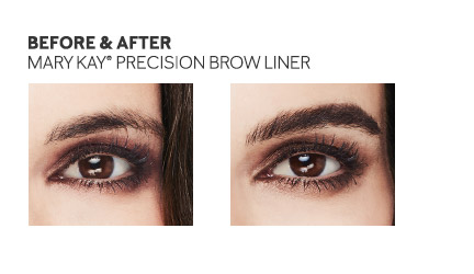 Before and after photo focusing on impact of Mary Kay Precision Brow Liner.